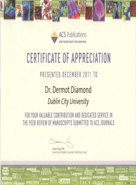 Chemical sciences adaptive sensors group news dcu dermot diamond acs certificate yadclub Choice Image