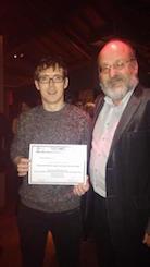 Simon Creane receiving award