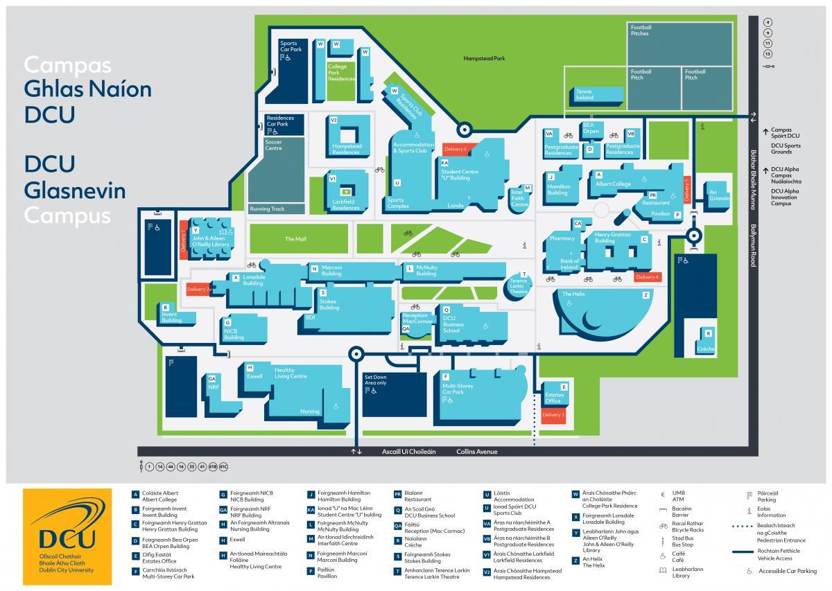 image regarding University of Arizona Campus Map Printable identified as Content - DCU Campus Map DCU
