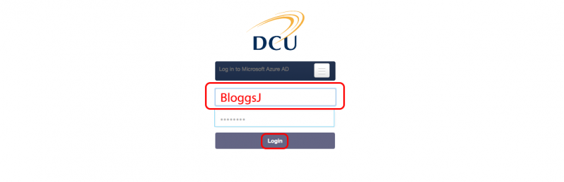 Please enter your DCU username and password