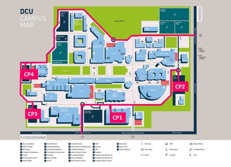 Car Park 1 to 4 on Campus Map