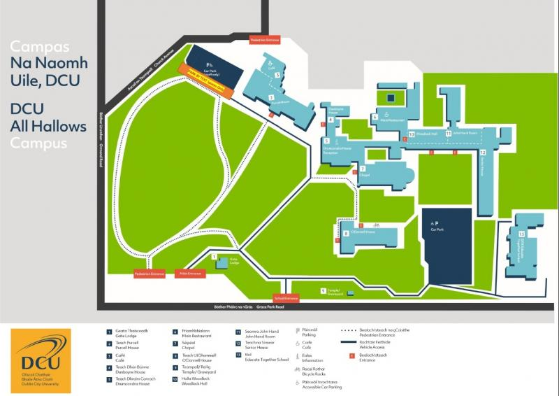 All Hallows Campus map - parking