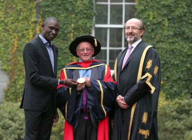 Br Colm O'Connell and David Rudisha