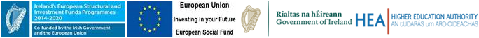 logos for the funding bodies the Irish Government and the EU ESF logos