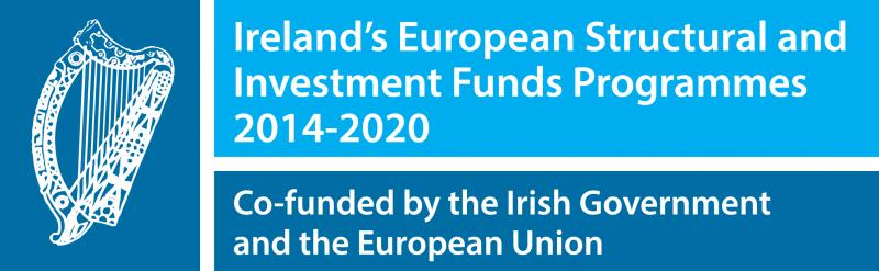 Blue logo with Irish Harp for the Ireland & EU Structural funds