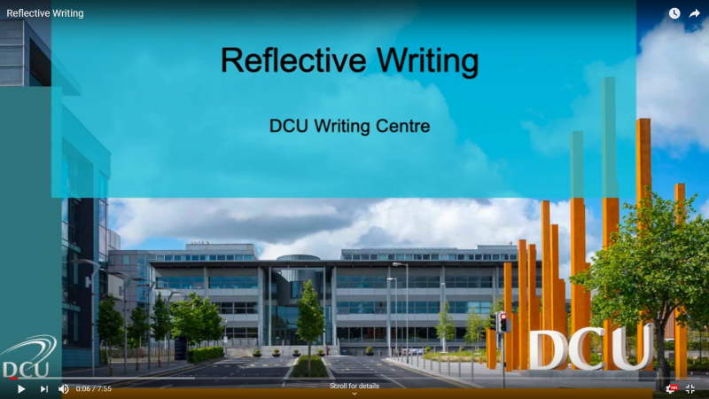 Still image of reflective writing video.