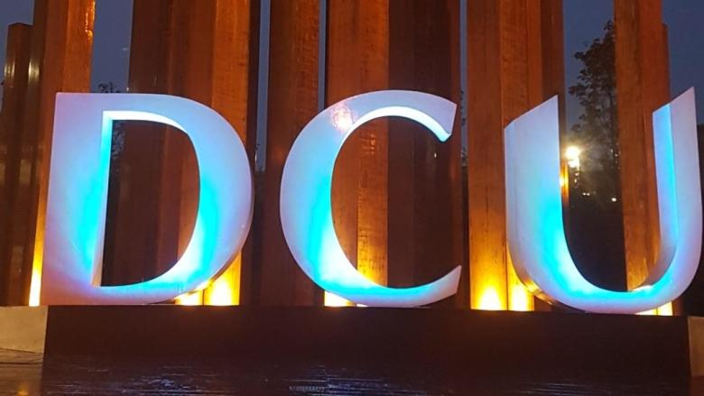 The DCU sign lights up blue for World Diabetes Day