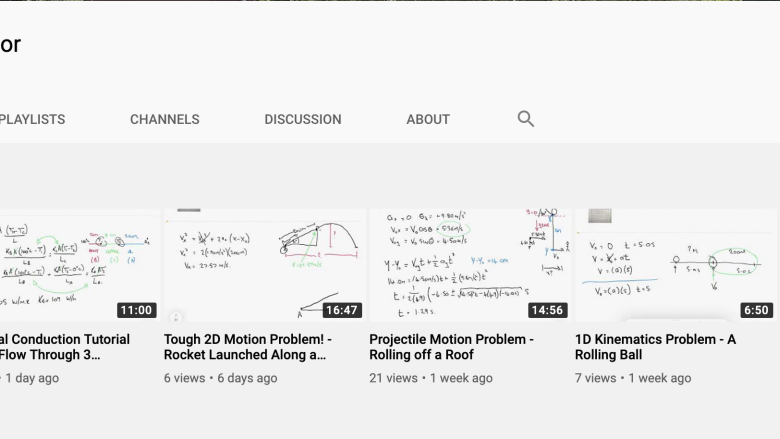 Dr. Rob O'Connor YouTube physics tutorial videos