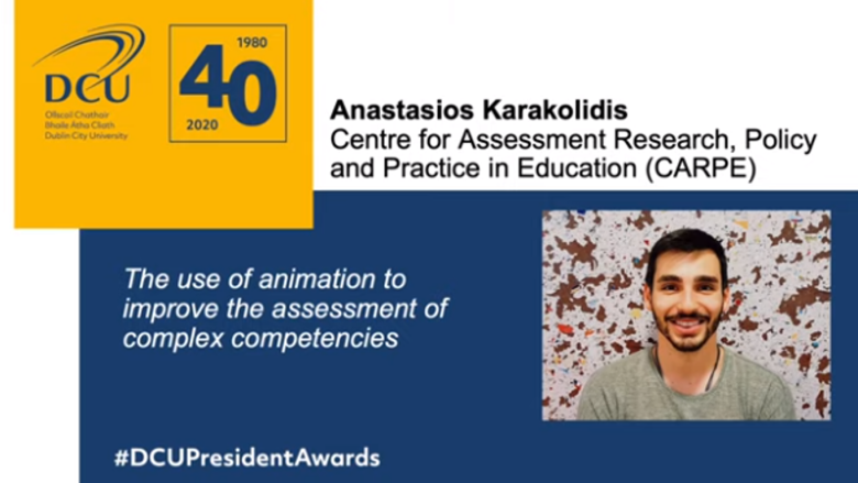 Dr. Anastasios Karakolidis, Winner of the 2020 DCU President's Award for Engagement and Innovation (Postgraduate)