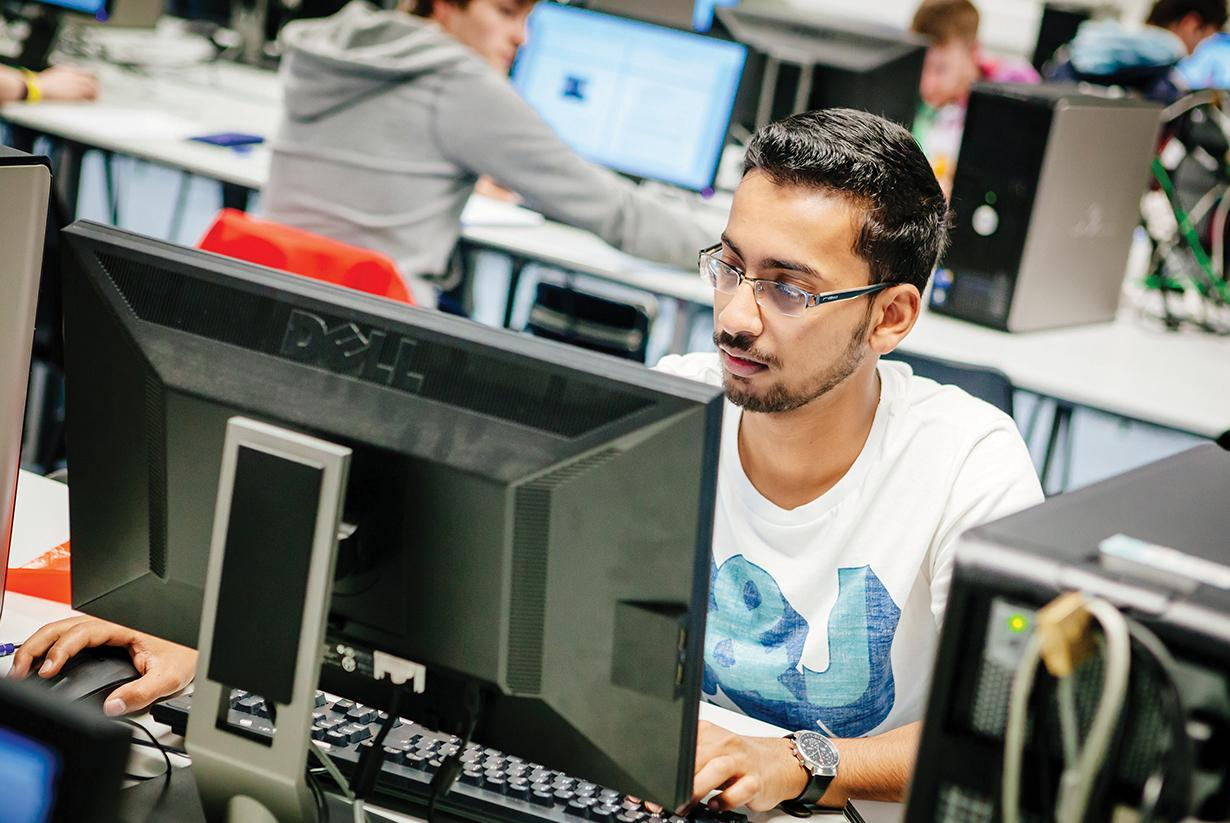 Student working in computer lab
