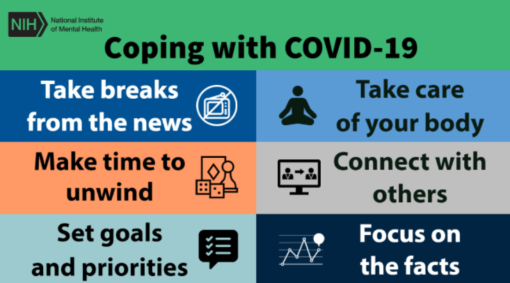 Tips to coping with COVID 19 including taking breaks from the news, taking time to unwind, moving your body, setting goals and priorities, focus on the facts, connect with others