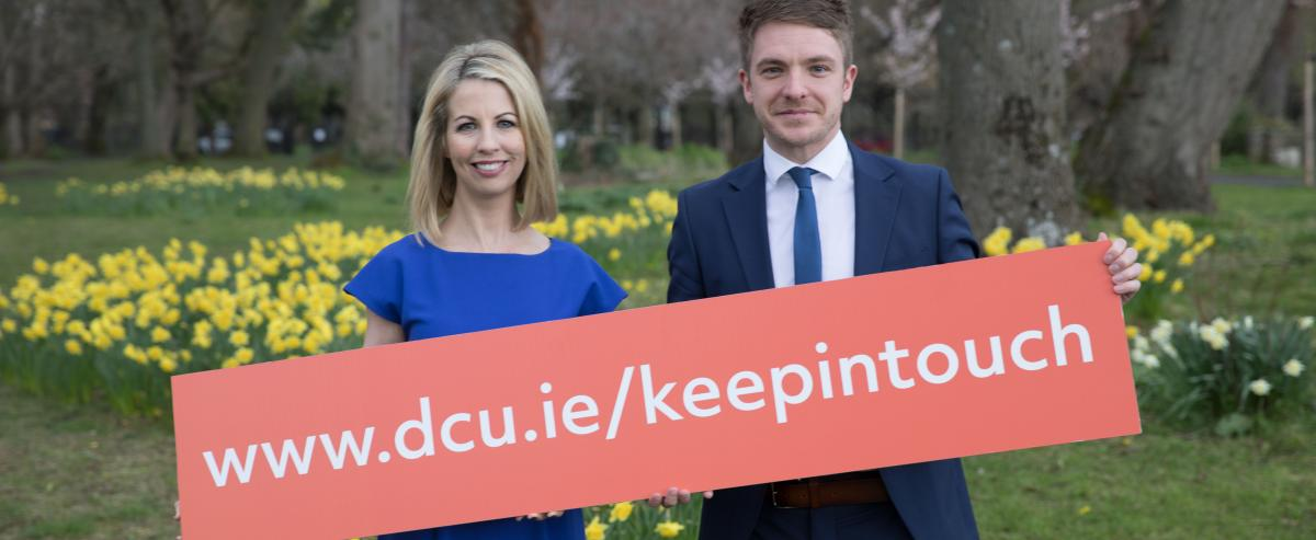 Caitriona Perry and Ross Munnelly urge DCU alumni to keep in touch