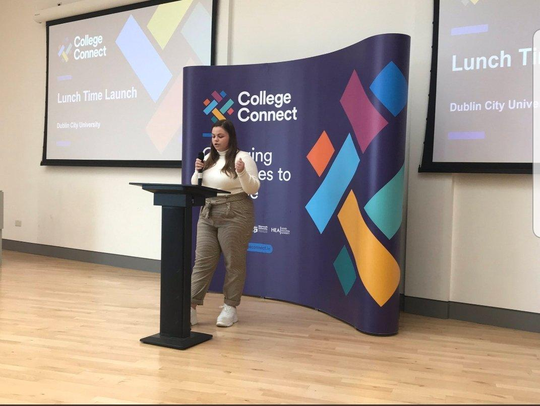 MC Cassie Hunt, a DCU student, speaks at DCU launch of College Connect